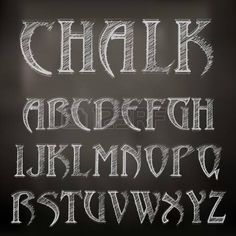 Vector sketched chalky alphabet on blackboard photo