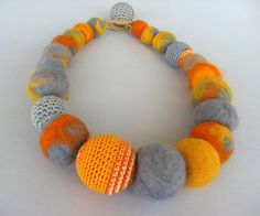 SALE Yellow-gray textile Necklace от artistudios на Etsy
