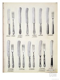 Cutlery Designs, from a Trade Catalogue of Domestic Goods and Fittings, circa 1890-1910 Giclee Print at Art.com