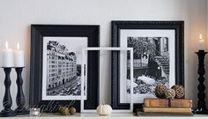 Fall black white masculine mantel décor - I never thought of adding my architecture  pictures to the mantel