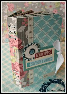 scrapbook album cover, CHerInspirations: Mini Book Binding Tutorial using the new Teresa Collins Now & Then collection Teresa Collins, Mini Album Scrapbook, Scrapbook Journal, Mini Albums, Mini Album Tutorial, Album Book, Handmade Books, Handmade Journals, Book Binding