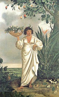 obra de Albert Eckhout. Artista holandês que no século XVII retratou os primeiros habitantes do país, entre os quais, mulatos, mamelucus, tupis e negros