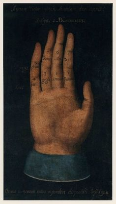"""This mysterious painting of an open hand dates back to 1633 according to one of the many inscriptions on the canvas.  Measuring 49 inches high, 28 inches wide, this intriguing painting contains multiple cryptic Latin phrases and is of uncertain origin. """"Omnia in mensum numo et ponderi disposuisti Sap. Cap 11."""" is a quote from Wisdom 11: """"You  arranged them all according to their weight and number"""", which was famously to be taken up as a motto by Sir Isaac Newton."""