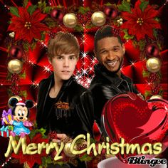 Usher Christmas   Justin Bieber and Usher Merry Christmas Picture #119023517   Blingee ...