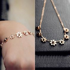 Rose Gold plated Anklet - small daisies