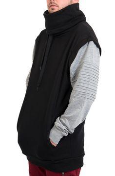 Fleece Biker Funnel Neck Sweater in Black – Fashion X Freedom