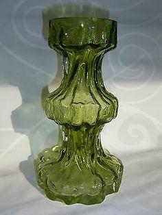 IG  INGRID Ingridkristall Vase GRÜN 60er 70er Rinde Borke BLOCKVASE H 21,5 cm