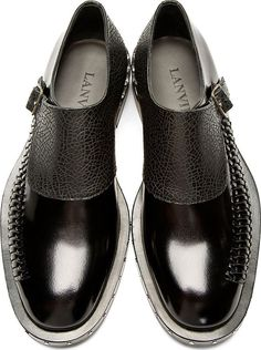 #Lanvin: Bac Monk Strap Woven Accent Shoes