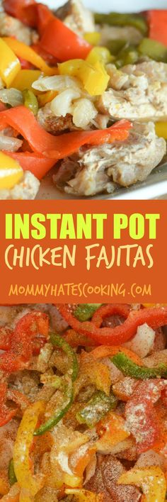 Make Instant Pot Chicken Fajitas in mere minutes. These are simple to make in the Instant Pot or you can slow cook them as well. Easy Healthy Recipes, Lunch Recipes, Easy Dinner Recipes, Crockpot Recipes, Chicken Recipes, Free Recipes, Protein Recipes, Healthy Foods, Yummy Recipes
