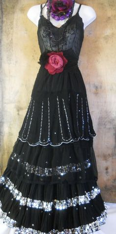 Black beaded dress gypsy sequins sparkle tiered   rose goth  small  medium  by vintage opulence on Etsy.