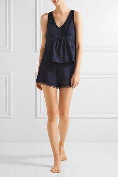 Skin - Lace-trimmed Crinkled Cotton-gauze Pajama Shorts - Midnight blue - 2