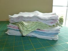 One More Stitch: Upcycled cloth wipes from receiving blankets