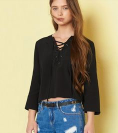Tokyo Rodeo - Peasant Lace-Up Top