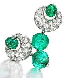 Pair of #Emerald and #Diamond ear clips by #SuzanneBelperron circa 1935.