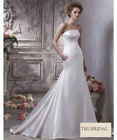 Luxury Strapless Beaded Taffeta Drop Waist Court Train Wedding Dresses