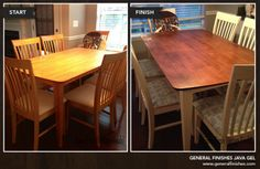 This  project is by Beth of Farm Fresh Vintage Finds. She transformed this dining room set with our popular General Finishes Oil Base Gel Wood Stains in Java. She purchased it from her local Woodcraft stores in Tennessee. We love how she updated this simple dining room table and gave it character with a Java Gel top! You can read details of her transformation on her blog at: http://farmfreshvintagefinds.com/table-transformation-general-finishes-gel-stain/ and follow her on Facebook.