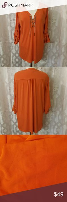 Michael Kors XL Blouse Michael Kors XL orange blouse, great fall pick! Small light oil spot under one of the arms and a small snag at the bottom back, both are pictured. Very cute shirt!  C-1035 Michael Kors Tops Blouses