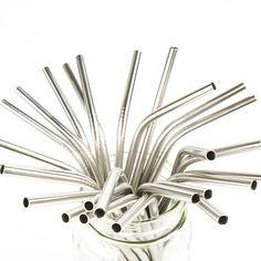 Eco-Friendly Metal Straws that are Dishwasher Safe Stainless Steel Dishwasher, Stainless Steel Straws, Yellow Chevron, Metal Straws, Cool Kitchens, Mason Jars, Old Things, Silver, Pint Jar