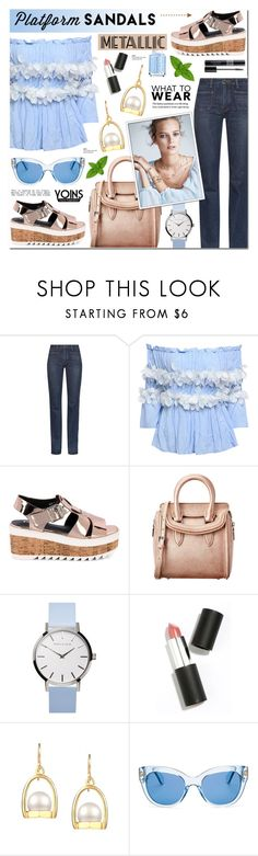"""""""Metallic Platform Sandals &Off-Shoulder Top - Yoins 5"""" by anyasdesigns ❤ liked on Polyvore featuring Yves Saint Laurent, Alexander McQueen, Sigma Beauty, Mix & Match, Kate Spade, Essie and Christian Dior"""