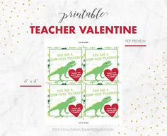 Teacher Gift - Gift for Teacher - Last Day of School - Teacher Card - Dinomite Valentine - T-Riffic Dinosaur Valentines, Teacher Valentine, Teacher Gifts, Printer Types, Last Day Of School, School Teacher, Free Printables, Cards, Etsy