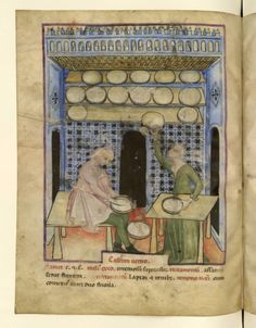 Nouvelle acquisition latine 1673, fol. 59v, Fabrication du fromage. Tacuinum sanitatis, Milano or Pavie (Italy), 1390-1400. Keywords: Green dress