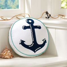 Summer Icon Toss Pillow Cover, Anchor ($35) ❤ liked on Polyvore