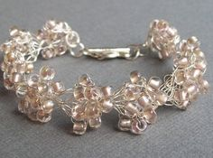 """Wedding Bracelet,  """"Pearly Pink"""", Crystal, Jewelry, Designer, Bridesmaids, Seed Beads, Sterling Silver Plate, Wire, Crochet, Retro"""
