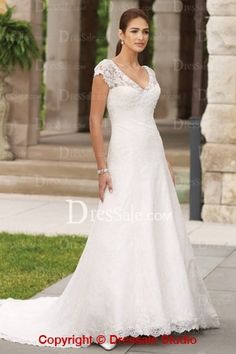 Elegant Wedding Dresses with Short Sleeves with no train
