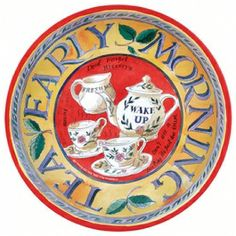 """""""Early Morning Tea"""" tin tray designed by Matthew Rice"""