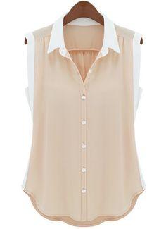 Light Pink Contrast Collar Sleeveless Scallop Hem Blouse US$21.31