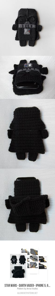 Star Wars - Darth Vader - iPhone 7 case crochet pattern, for purchase Crochet Case, Crochet Phone Cases, Crochet Purses, Love Crochet, Crochet Gifts, Crochet Dolls, Easy Crochet, Knit Crochet, Star Wars Crochet
