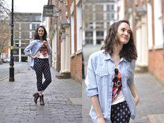 Zara T Shirt, Zara Panys, Levi's Denim Shirt, Bocage Boots