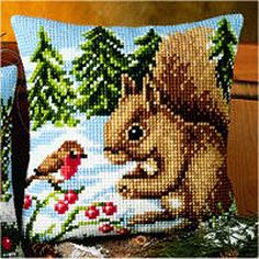 Christmas Squirrel Cross Stitch Cushion Kit By Vervaco