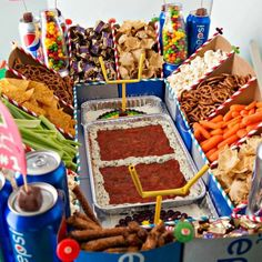 Ultimate Football Snack Stadium is made with Soda Cartons! The Modular Snack Stadium is perfect for your Super Bowl Party or Football Party Healthy Superbowl Snacks, Game Day Snacks, Party Snacks, Game Party, Party Fun, Vegan Snacks, Party Trays, Work Party, Quick Snacks