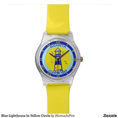 Blue Lighthouse In Yellow Circle Wrist Watch