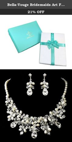 Bella-Vouge Bridemaids Art Flower Pearl Necklace Earrings Set Clear Austrian Crystal Silver-Tone-NO.130. A wedding jewelry sets including a special Pearl Beads rhinestone necklace and a pair of beautiful Pearl Beads rhinestone earrings Special and gorgeous wedding Pearl Beads rhinestone necklace and earrings set add you a lot of charm in your special day Sure to make you more elegant and outstanding Easy to wear and take off with pendant earrings style Ideal for weddings, engagements…