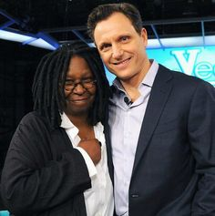 Ghost Reunion: Whoopi Goldberg and Tony Goldwyn on the set of ABC talk show The View on Wednesday January Black Woman White Man, Black Women, Tony Goldwyn, Whoopi Goldberg, Olivia Pope, Bwwm, Interracial Love, Great Team, Love And Respect