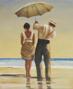 Jack Vettriano's 'Mad Dogs'--Do the Umbrellas symbolize Protection? I Like the Umbrellas!