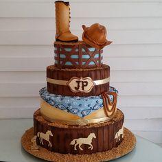 Western Inspired Cake Western Theme Cakes, Western Birthday Cakes, Cowboy First Birthday, Cowgirl Cakes, Country Birthday, Horse Birthday Parties, Cowboy Theme Party, Farm Cake, Horse Cake