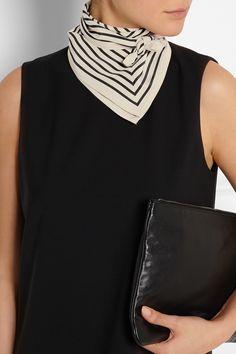 Totême|Striped silk-faille scarf|NET-A-PORTER.COM