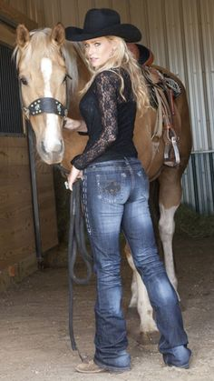 """Cowgirl Tuff Company presents """"Wild & Wooly"""" Jeans for Women's of all shapes and sizes. Our sizes come in and inseams Cowgirl Jeans, Cowgirl Tuff, Sexy Cowgirl, Cowgirl Outfits, Cowgirl Style, Cowboy Horse, Real Country Girls, Country Girl Style, Country Women"""