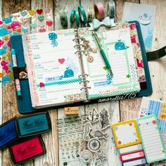 Filofax decoration, original dark aqua