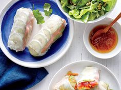 Tuna Spring Rolls with Pineapple Dipping Sauce | Finding recipes for two doesn't mean you have to be stuck with lots of leftovers. These delicious dinners for two range from weeknight classics to anniversary-worthy dining events. Most of these recipes are easily ready long before take out pizza could arrive on your doorstep. Tonight, try an inspired recipe for two that will bring fun back to the kitchen and flavor to the table. Whether you're ready to roll your own spring rolls or dying to…