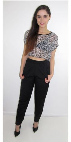 Black and White Sheer Crop Top