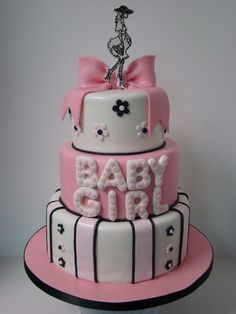 one of my fav babyshower #cakes. fashionable in pink, black and white  www.sweetcakesbyrebecca.com