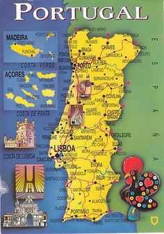 This map card came from Portugal. I wonder if that rooster on the right corner of this card is some kind of symbol of Portugal? Thank you, Luso. #beachtravel