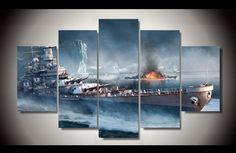 5 Panels Battleship Canvas Art #Ocean