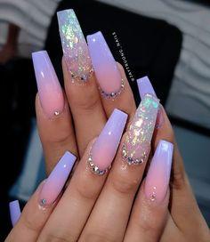Purple Acrylic Nails, Long Square Acrylic Nails, Acrylic Nails Coffin Short, Best Acrylic Nails, Purple Nails, Square Nails, Lilac Nails Design, Peach Nails, Pink Acrylics