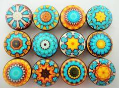 Set of 12 Aqua Blue and Yellow Mandala Cabinet Knobs