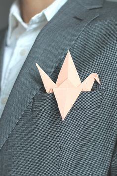 Love this idea for the grooms/men jacket pocket instead of a square of fabric...Paper Crane Boutonnieres Wedding Boutineer Brooch Origami Boutonniere Black White Pastel Mint Purple Magenta Aqua Blue Peach Pink Corsage